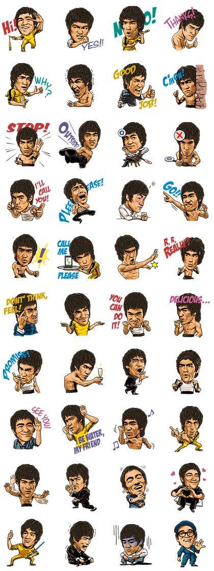 2014/09/04】LINE stickers of Pinocchio, Bruce Lee and Doraemon